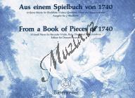 Album | Aus einem Spielbuch von 1740 (pro zobcovou flétnu in C) - Provozovací partitura a party | Noty na zobcovou flétnu