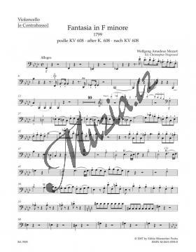 Mozart Wolfgang Amadeus | Fantasia in F minore pro smyčce podle Ein Orgelstück für eine Uhr KV 605 | Part-Violloncello - Noty pro orchestr - BA9505vc.jpg