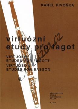 Pivoňka Karel   Virtuózní etudy pro fagot   Noty na fagot - H1217.jpg