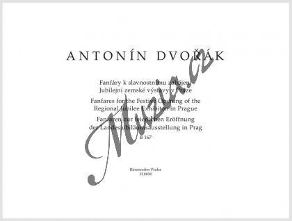 Dvořák Antonín | Fanfáry k slavnostnímu zahájení Jubilejní zemské výstavy Praze, B 167 | Partitura a party - Noty na trubku - H8018.jpg